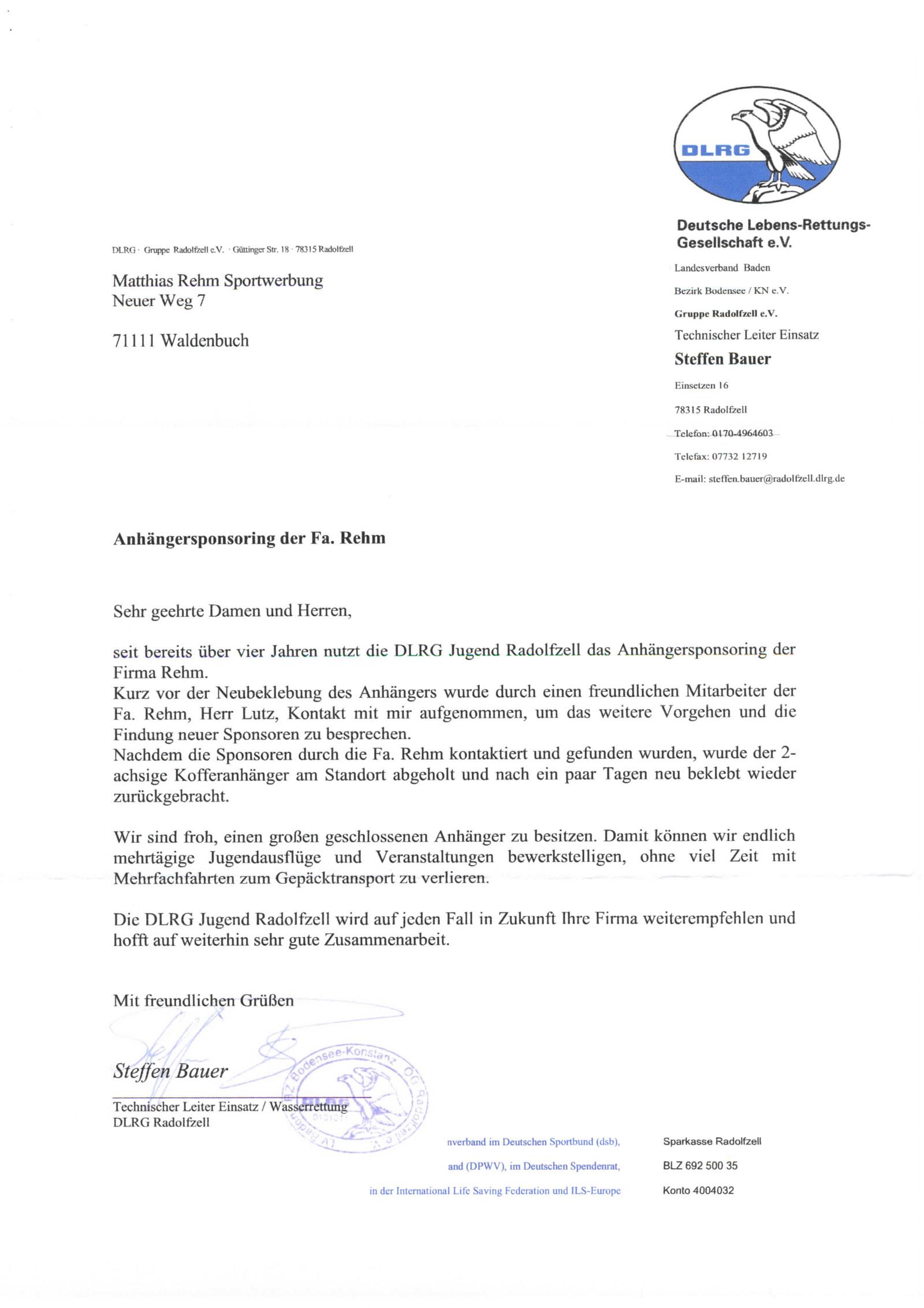 Rehm Sportwerbung | Referenz DLRG Radolfzell